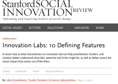 "Stanford Social Innovation Review ""Innovation Labs: 10 Defining Features"""